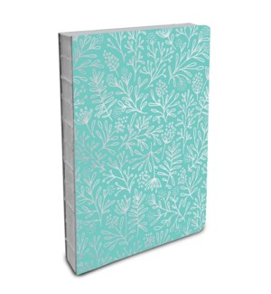 Coptic-Bound Journal Silver Flowers (Mint)