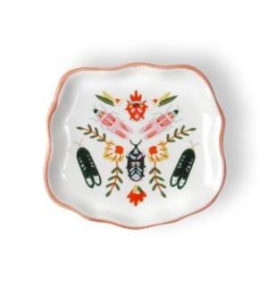 Folk Art Beetles Ceramic Trinket Tray