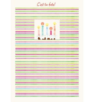 Stripes with Cake/Candles 5 x7|Designer Greetings