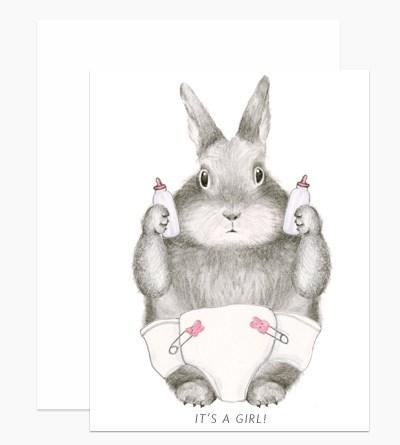 New Baby Girl Bunny 4.25x5.5  Dear Hancock