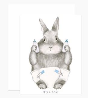 New Baby Boy Bunny 4.25x5.5 |Dear Hancock