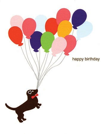 Birthday Balloons Dog 4.25x5.5|Designs by Val