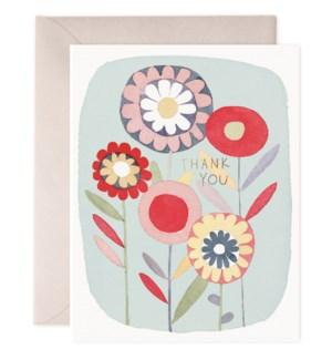 Folky Flowers Thanks|E Frances Paper
