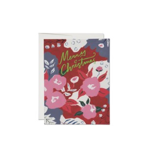 Ruby Red Flower FOIL Holiday card