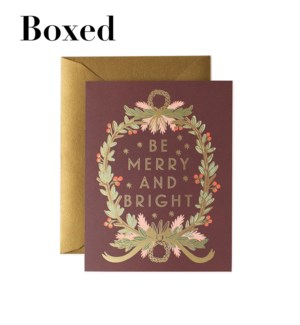 Boxed set of Be Merry and Bright Wreath cards