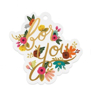 Pack of 8 Mint Floral 'For You' Die-Cut Gift Tags