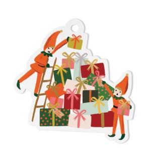 Pack of 8 Elves Die-Cut Gift Tags