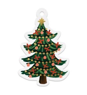 Pack of 8 Christmas Tree Die-Cut Gift Tags
