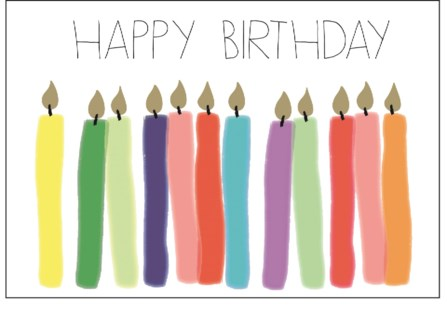 Happy Birthday Candles letterpress 4.25x5.5|Halfpenny