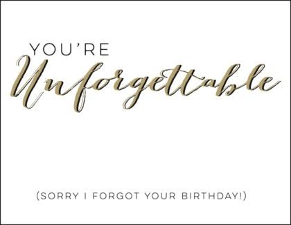 You're Unforgettable letterpress 4.25x5.5|Halfpenny