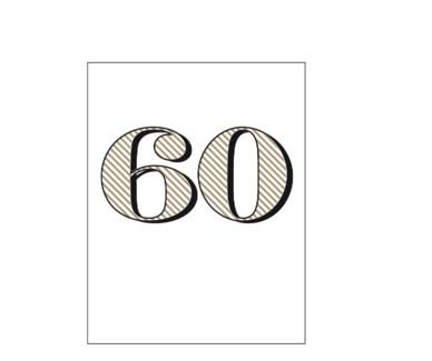Sixty letterpress 4.25x5.5|Halfpenny