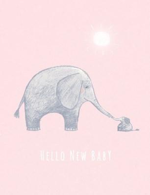 Pink Elephant Baby 4.25x5.5|Halfpenny