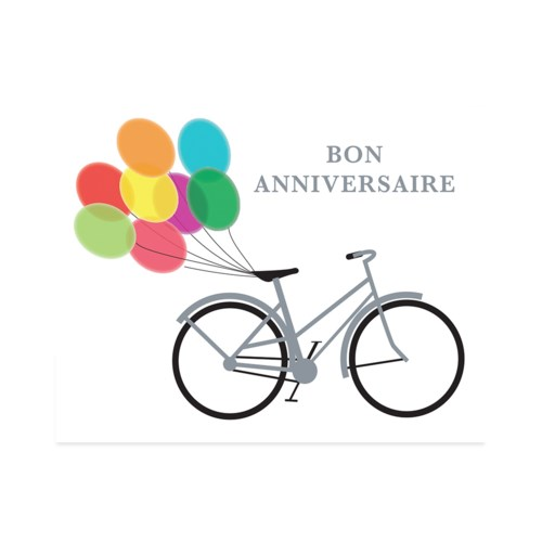 Birthday Bike and Balloons French|Halfpenny