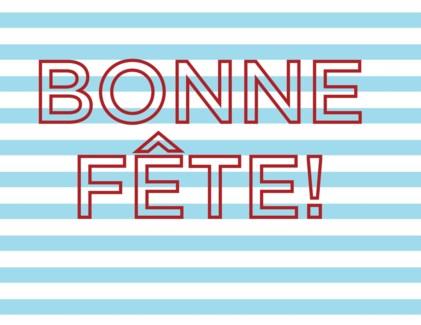 Bonne Fete Stripes letterpress 4.25x5.5|Halfpenny
