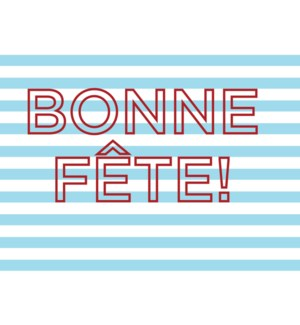 Bonne Fete Stripes letterpress 4.25x5.5|Halfpenny