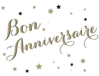 Bon Anniversaire Stars letterpress 4.25x5.5|Halfpenny