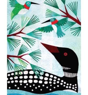 Loon And Hummingbirds Halfpenny