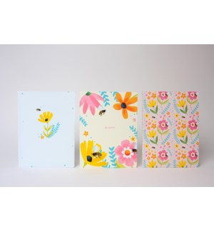 Bees And Flowers Notebook - assort 3