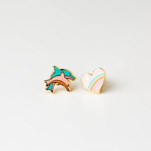 Heart & Dolphin Earrings