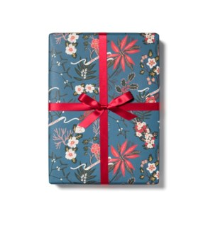 Blue Poinsettia roll - 3 sheets