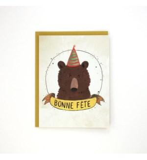 Birthday Bear French 4.25x5.5|Made In BV