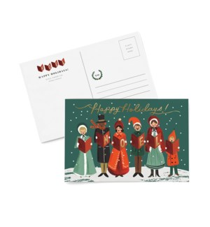Pack of 10 Carolers Christmas postcards