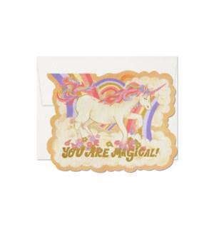Magical Unicorn Die Cut Foil Love Card