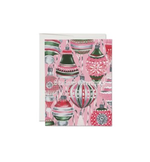 Retro Ornaments FOIL Holiday card