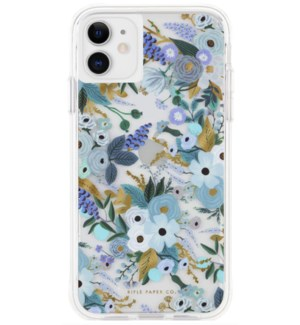 Clear Garden Party Blue iPhone 11 Case