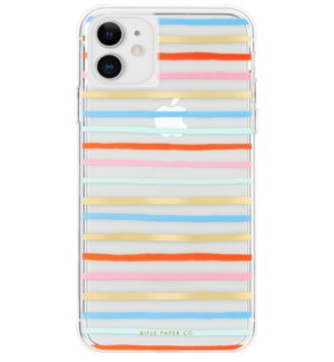 Clear Happy Stripes iPhone 11 Case