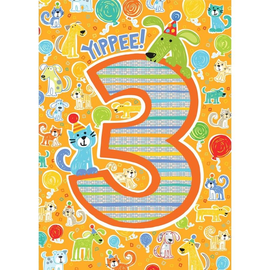 Age 3 Pattern Foil Card|Peaceable Kingdom