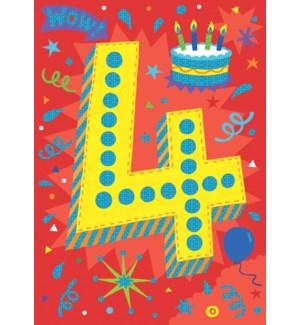 Age 4 Lettering Foil Card|Peaceable Kingdom