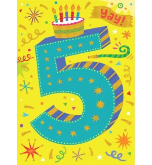Age 5 Lettering Foil Card|Peaceable Kingdom