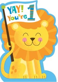 Age 1 Lion Flocked Baby Die-Cu|Peaceable Kingdom