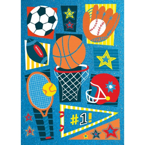 Sports Pattern Foil Card|Peaceable Kingdom