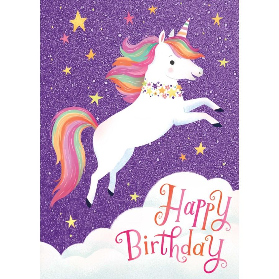 Flying Unicorn Glitter Card|Peaceable Kingdom