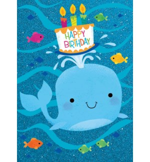 Whale With Cake Glitter Card|Peaceable Kingdom