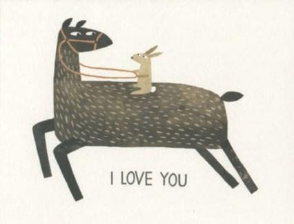 Rabbit Riding Llama 4.25x5.5|Red Cap Cards