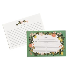 Pack of 12 Citrus Floral Recipe Cards