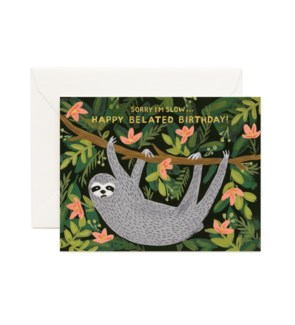 Sloth Belated Birthday Card|Z