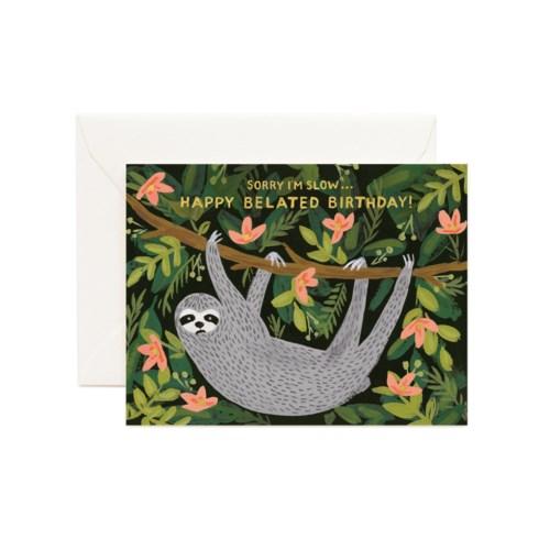 Sloth Belated Birthday Card|Z