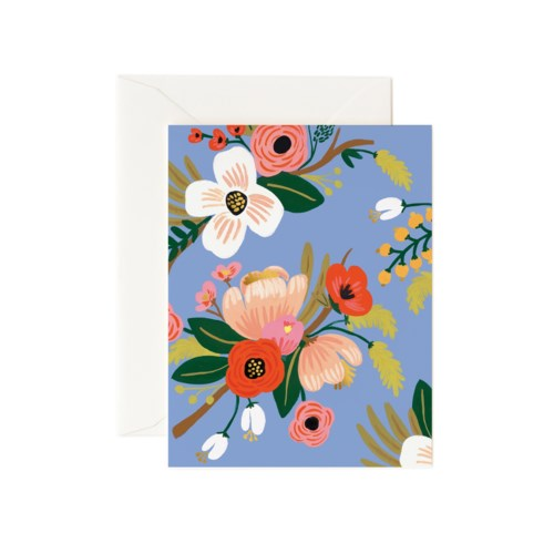 Lively Floral Periwinkle Card|Z