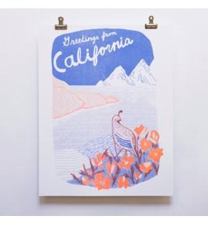 Riso Print - Greetings from California