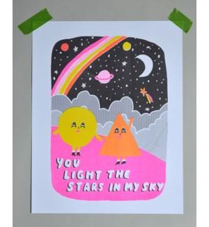 Riso Print - You Light the Stars