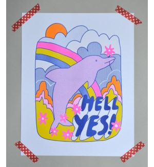 Riso Print - Hell Yes! Dolphin