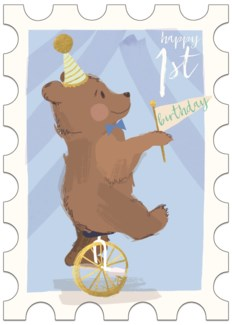 Bear on Unicycle Blue 5 X 7 |Winged Hat