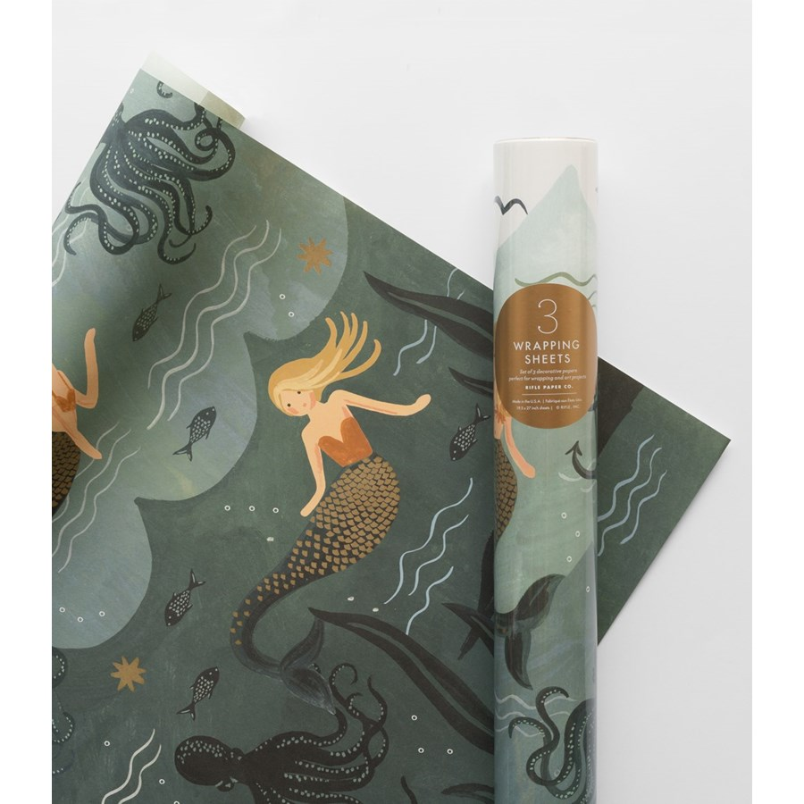 Roll of 3 Mermaid Wrapping Sheets