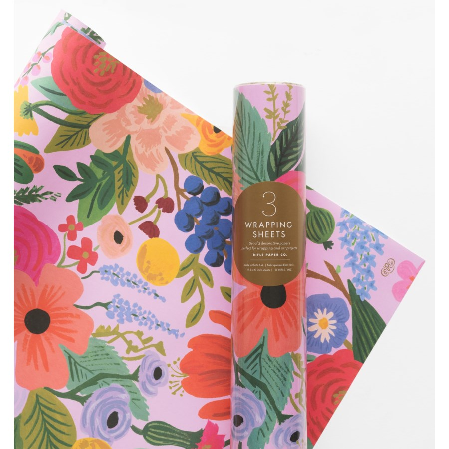 Roll of 3 Garden Party Wrapping Sheets