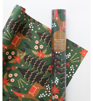 Roll of 3 Reindeer Wrapping Sheets