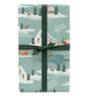 Single Holiday Snow Scene Wrapping Sheet (Flat)